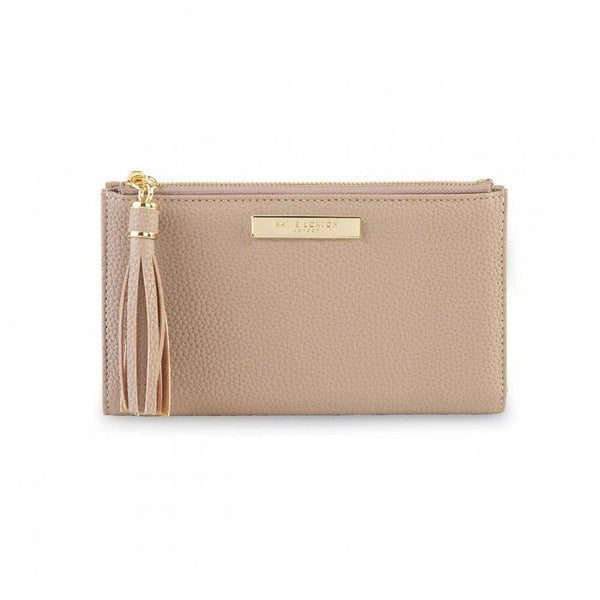 TASSEL FOLD OUT PURSE I TAUPE