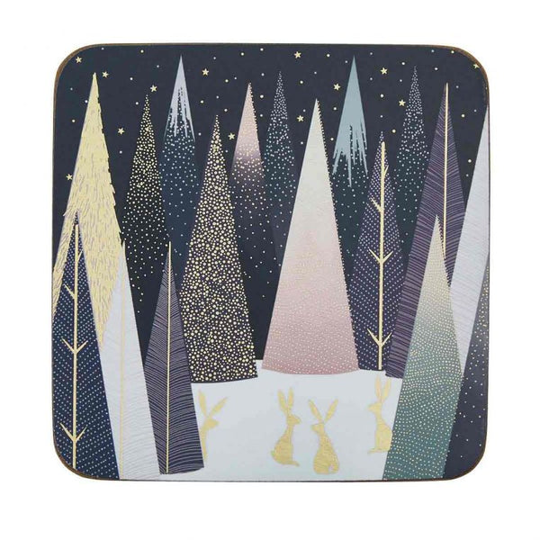 Set of six Sara Miller London Portmeirion Frosted Pines coasters