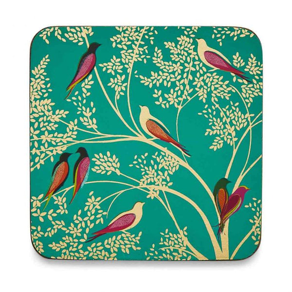 Set of six Sara Miller London Green Birds Coasters