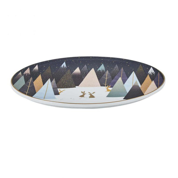SARA MILLER FROSTED PINES 9'' SERVING PLATE