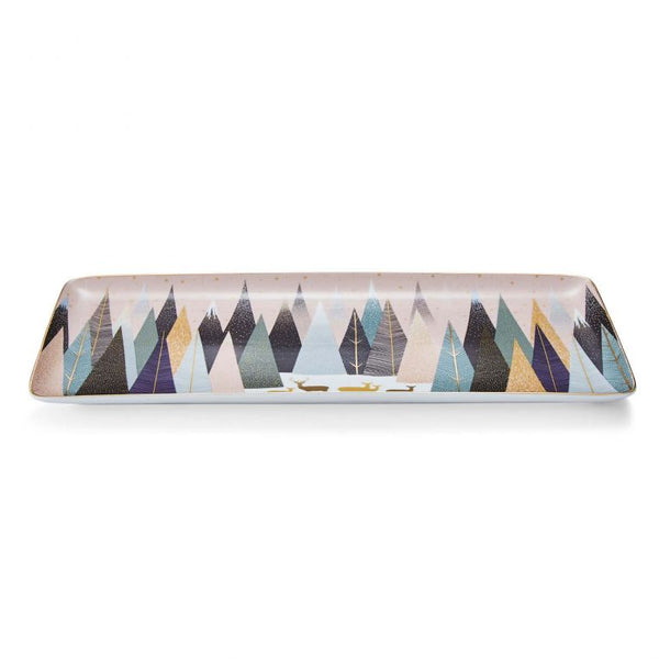 SARA MILLER FROSTED PINES 14'' SANDWICH TRAY