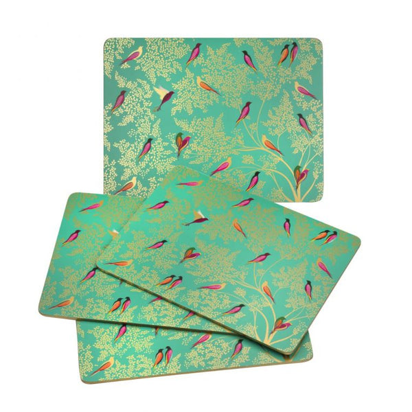 Set of four Sara Miller London Chelsea Green Birds Placemats