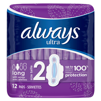 Ultra Long (Size 2) Sanitary Towels With Wings 12 pads