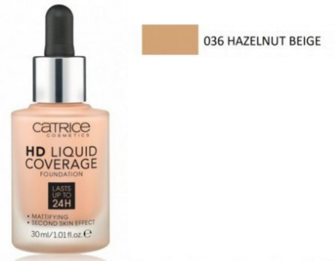 HD Liquid Coverage Foundation 36 Hazelnut Beige 30ml