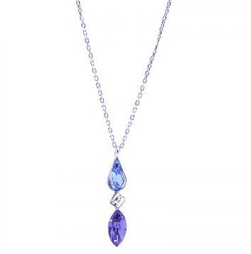 Sterling Silver Sapphire Pear Necklet