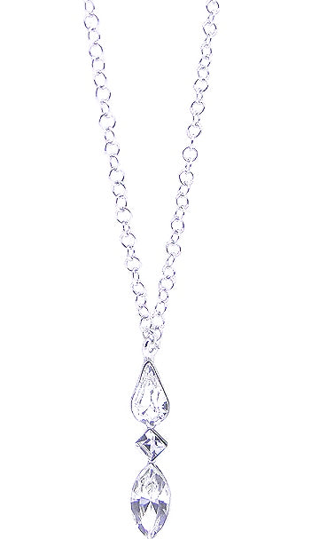 Load image into Gallery viewer, Sterling Silver Crystal Pear Stone Set Necklet
