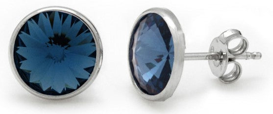 Load image into Gallery viewer, Denim Blue Rhodium Plating Sterling Silver Earring