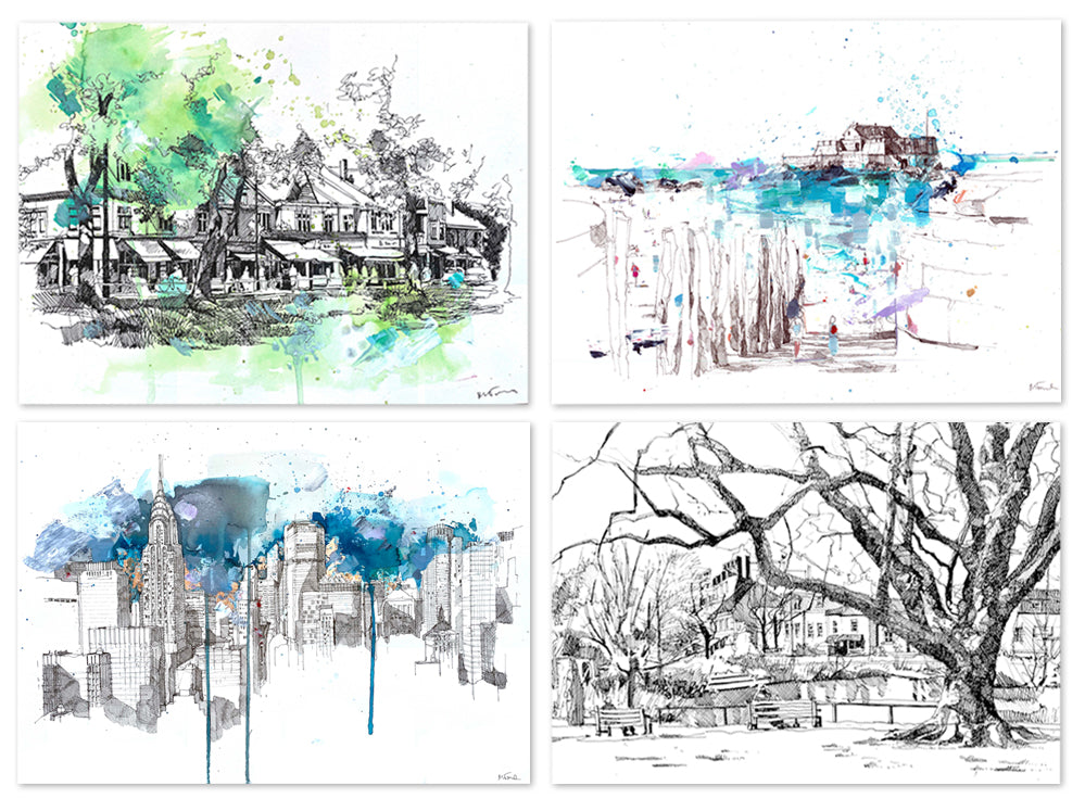 examples of bespoke drawings and paintings