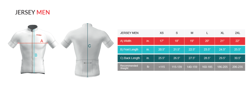 Virtual Cycle Mission Mens Jersey Size Chart