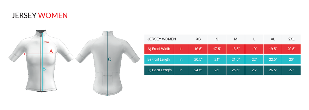 Virtual Cycle Mission Womens Cycling Jersey Slim Fit Size Chart