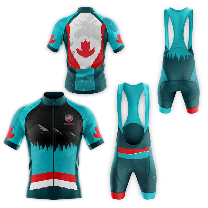 Image of cyclist gear featuring coast Salish artwork