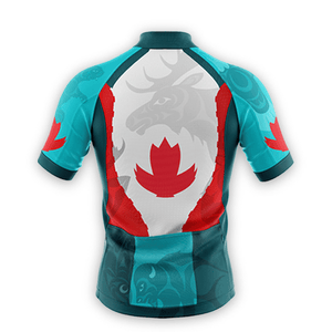 Image of men's cycling jersey back featuring coast Salish artwork