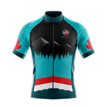 Load image into Gallery viewer, Image of men's cycling jersey front featuring coast Salish artwork