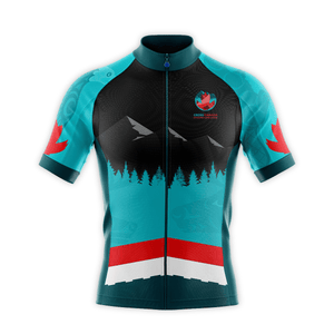 Image of men's cycling jersey front featuring coast Salish artwork