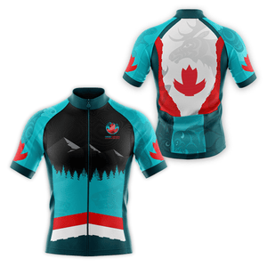 Men's style cycling jersey, front and back views, featuring Coast Salish art