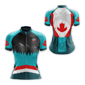 Women's style cycling jersey, front and back views, featuring Coast Salish art