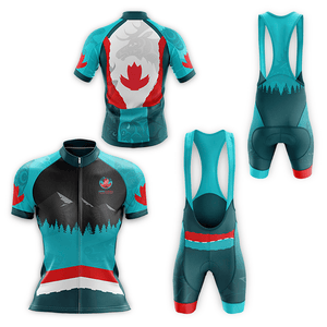 Unisex style cycling jersey, front and back views, featuring Coast Salish art