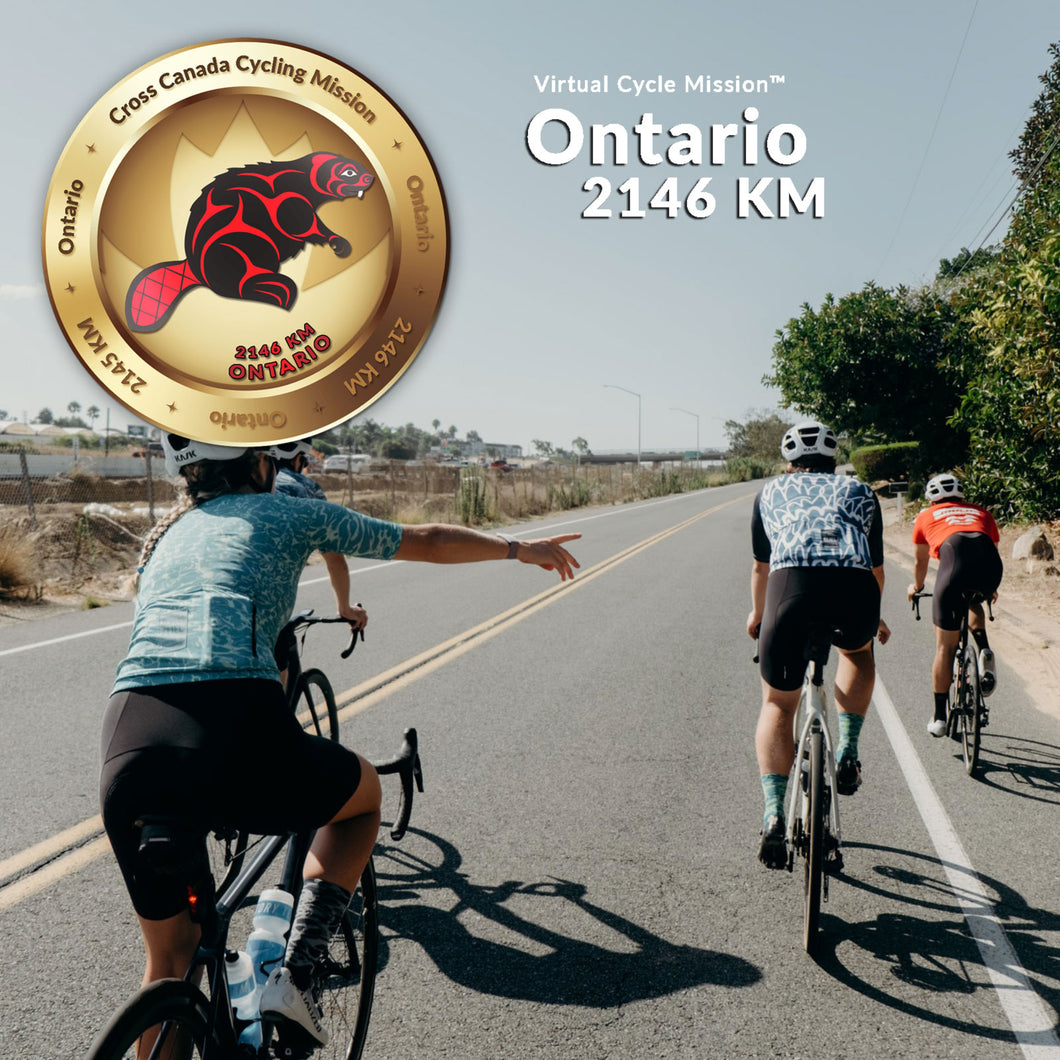Image of cyclist with an event medallion