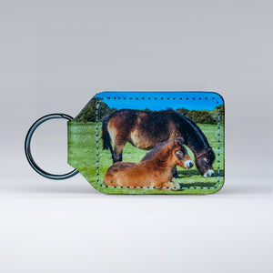 Leather keyring featuring an Exmoor Pony and Foal