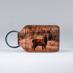 Leather keyrings featuring a classic Exmoor Stag