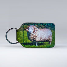 Load image into Gallery viewer, Leather keyrings featuring an Exmoor Horned Sheep