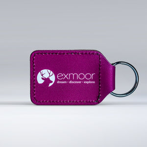 Leather keyring back featuring Exmoor logo
