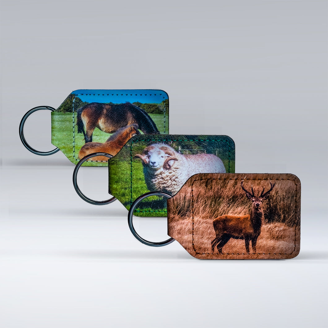 Three leather keyrings. Each one featuring a classic Exmoor animal