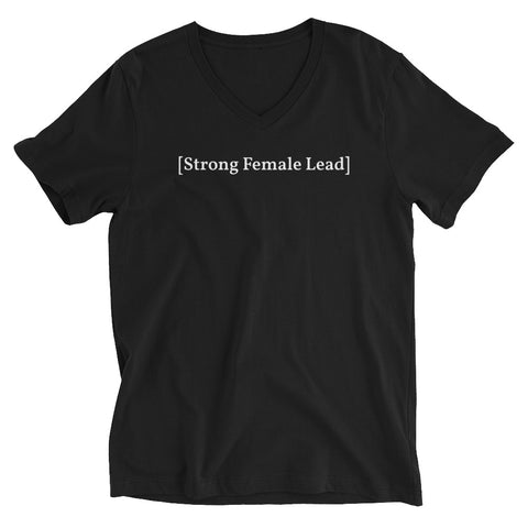 [Strong Female Lead] Black Unisex Short Sleeve V-Neck T-Shirt