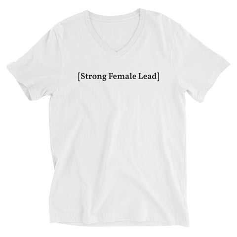 [Strong Female Lead] White Unisex Short Sleeve V-Neck T-Shirt