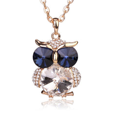 Owl Collection Gold and Swarovski Crystal Featuring BLUE Eyes