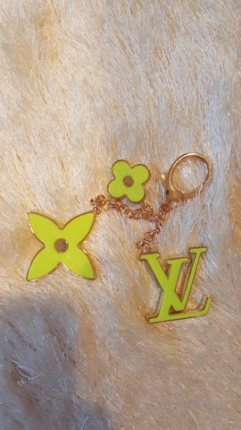 Beady LogoZ Design Bag Tag Keychain Gold & Neon Yellow