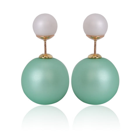 Gum Tee Mise en Style Tribal Earrings - Matte Green & White