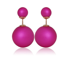 Gum Tee Mise en Style Tribal Earrings - Matte Fuschia