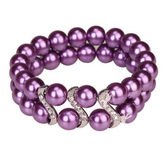 Bracelet Tribal Design Double Row Pearl Purple With Crystal Studs