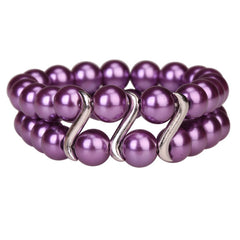 Bracelet Tribal Design Double Row Pearl Purple