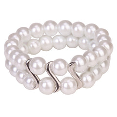 Bracelet Tribal Design Double Row Pearl White