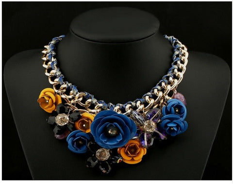 BEADY FLORAL CHOKER NECKLACE - BLUE & YELLOW
