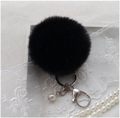 BEADY FUR POM BALLS KEYCHAIN or BAG CHARM - BLACK