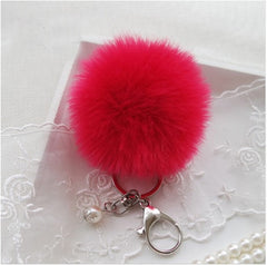 BEADY FUR POM BALLS KEYCHAIN or BAG CHARM - ROSE PINK