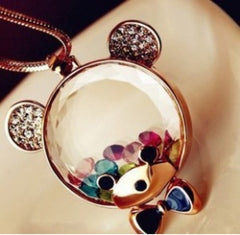 Tribal Collection Golden Teddy Bear Necklace Pendant With Floating Charms