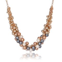 Tribal Collection Gold Chocolate Navy Pearl Multicolor Necklace