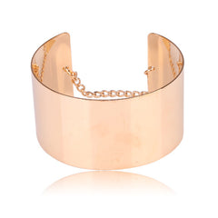 Beautiful Round Gold Bangle with Chain Bracelet