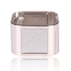 Beautiful Square Silver Bangle With Diamond Dust Bracelet