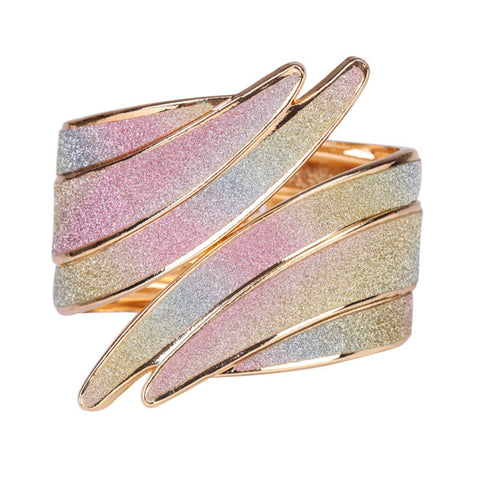 Beautiful Spiral Gold Bangle Bracelet with Multicolor Diamond Dust Look