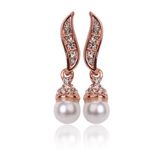 Bridal Dangle Golden Crystal & Pearl Earrings