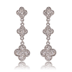 Beady Cleef Triple Clover - Silver with Crystal