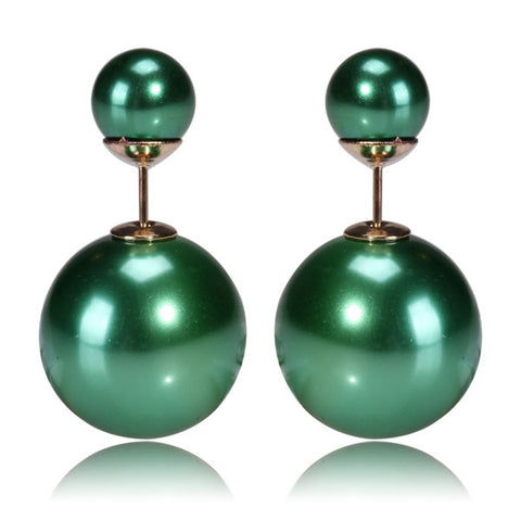 Gum Tee Mise en Style Tribal Earrings - Metallic Winter Green