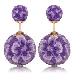 fashionista Earrings Purple Earrings Floral Print Beautiful Earrings