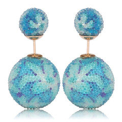 Italian Import Gum Tee Mise en Style Tribal Double Bead Earrings - Micro Bead Light Blue Flower Design