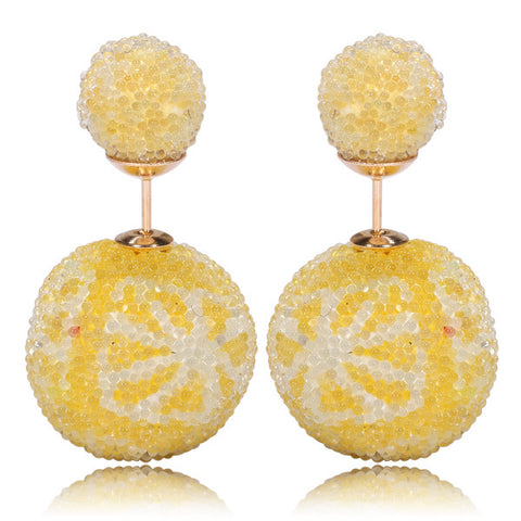 Italian Import Gum Tee Mise en Style Tribal Double Bead Earrings - Micro Bead Yellow Flower Design
